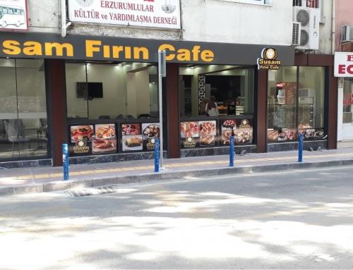 Susam Fırın Cafe Işıklı Kutu Harf Tabela ve Cam Folyo Kaplama